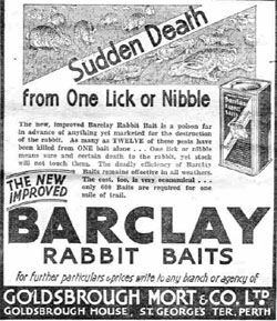 Newspaper ad for 'Barclay' rabbit baits