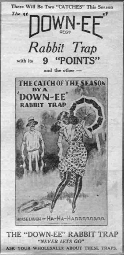 Newspaper ad for 'Down-ee' rabbit traps.