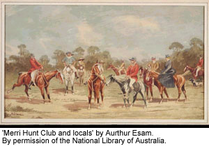 'Merri Hunt Club and locals' by Arthur Esam. By permission of the National Library of Australia