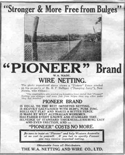 Newspaper ad for 'Pioneer' Brand wire netting.