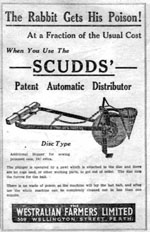 Newspaper ad for 'Scudds' poison distributer