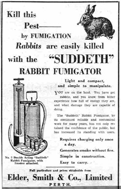Newspaper ad for Suddeth rabbit fumigator.
