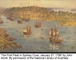 'The First Fleet in Sydney Cove, January 27, 1788' by John Alcott. By permission of the National Library of Australia.